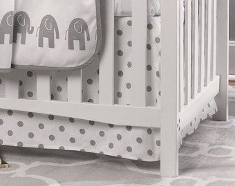 Gray Polka Dot Crib Skirt