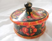 Two Hand Painted Round Wooden Boxes Collection. Floral Pattern, Flowers. Handcrafted boxes. Handmade