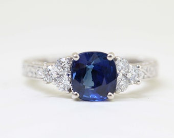 Vintage Style Filigree Cushion Cut natural blue CEYLON SAPPHIRE Ring with Diamond Accent Stones, Antique Style Engagement Rings