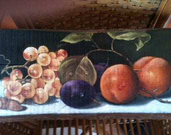 Fruits oil painting on Wood - handpainted Nature Morte