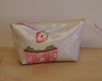SALE, Cosmetic bag, make-up bag, felt tip pen case, cupcake design pvc fabric.