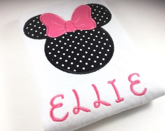 Personalized Minnie Mouse Shirt, Monogrammed Minnie Mouse Shirt, Embroidered Minnie Mouse Shirt, Personalized Disney Shirt, Minnie Mouse Tee