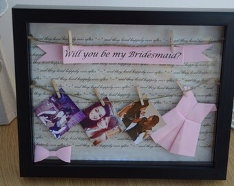 Personalised 'Will you be my Bridesmaid?' Photo Frame - Black Frame with Pink Decor