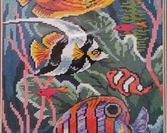 Fish TROPICAL BEAUTIES Needlepoint Kit  Sunset Dimensions 12107 - Tropical, ocean, sea, reef, coral reef, exotic, swim, school, nature