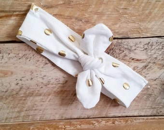 White and Gold Topknot Headband- Holiday Top Knot Headband- Gold Baby Turban-Mommy and Me Headband-Girl's Topknot Headband- Women's Headband