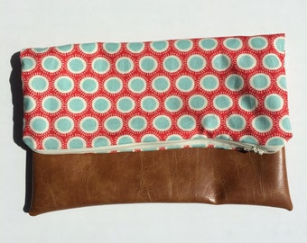 Red and Light Blue with Vegan Leather Fold Over Clutch