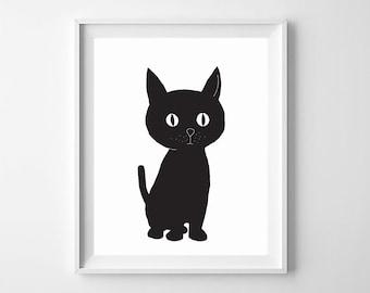 Gentil Cat Wall Art,Cat Nursery Art,Black Cat,Cat Printable Nursery,Cat