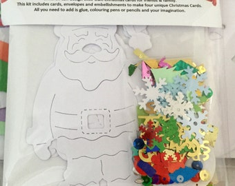 Children's Father Christmas Card Making Kit - featuring christmas trees, papers and embellishments - makes 4 unique cards