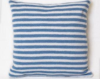 """Cushion """"White-blue stripes"""""""