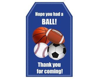 Sports Party Favor Tag / Sports Theme Birthday Party / Thank You Tag