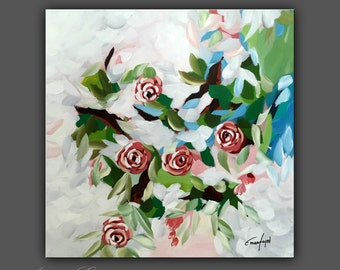 "Original Flower Painting, Modern Canvas Art, Contemporary Painting, 20""x20"" Ready to Hang"