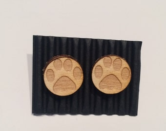 Wooden earrings - paw print