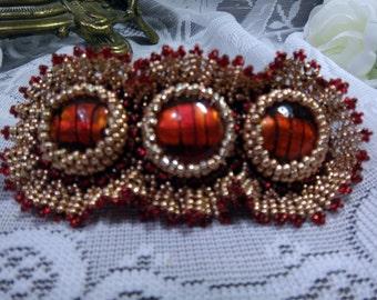 Beaded barrette, Bead embroidered barrette, Hair barrette, Beaded hair clip, Handmade hair accessory, Unique gift idea