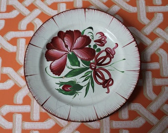 The Faïencerie Islettes of Argonne France 19th century ancient plate floral pattern pink ASD150050