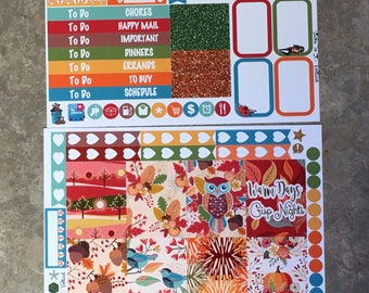 Owl About Fall Mini Weekly Set ECLP Horz and Vert Planner Stickers - Full Week ECLP Mambi Inkwell Press Filofax Kikki K Happy Autumn