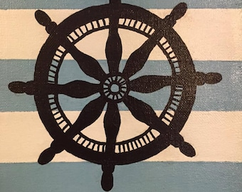 Nautical ship's wheel 8x10