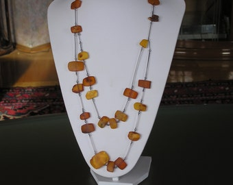 Art Deco Russian Silver 875 Genuine Amber Necklace