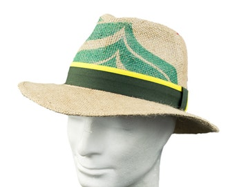 "Summer hat ""Café latte"" in Panama-style - motif: ""Reed"" geupcycled out coffee bag"