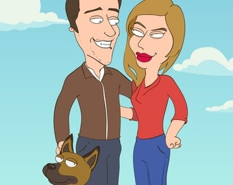 Unique couple gifts. Funny gifts for couple. Personalized couple portrait. Custom cartoon portrait.