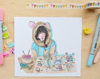 "Original illustration ""Tea Time"""