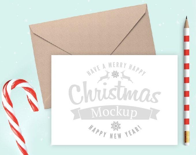 Christmas Landscape Card Mockup, 5x7 Christmas invite Mockup, Flatlay Christmas Mockup, Candy Cane Card Mockup (4.Christmas.Horiz)