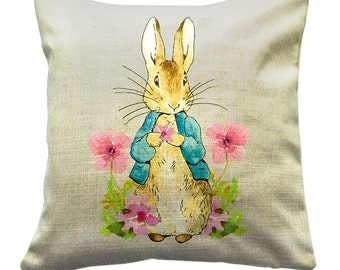 Peter Rabbit, Beatrix Potter Throw Cushion's, Adapted Peter Rabbit and Friends (**cover only**) - Peter Flowers