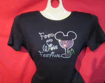 Disney Mickey Mouse Food and Wine Festival Rhinestone crystal SHORT LONG Sleeve  Misses S, M, L, XL, Plus size 1X, 2X, 3X shirts