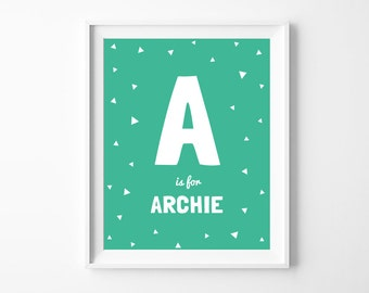 Nursery Baby Name Printable Art Poster, Personalized Letter and Name, Mint Green Nursery Wall Art Decor, Digital Download *DIY PRINT*
