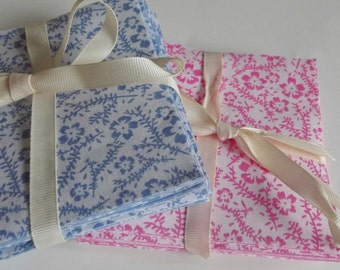 Oxford Blue and Pink Fabric Patchwork Squares Quilting Pack 100% Cotton