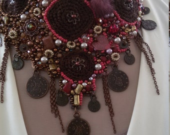 Crochet breastplate necklace