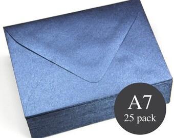 25 - Navy Metallic Euro Flap Envelopes - A7 (5 1/4 x 7 1/4) - Lapis Lazuli