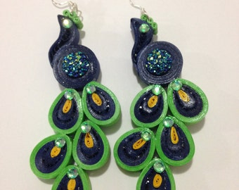 paper earrings- Peacock002