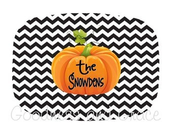 Monogrammed Halloween Pumpkin Platter - Personalized with Family Name