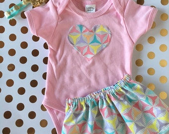 Pink onesie with Matching Skirt, Baby Girl Outfit, Purple, Pink, Mint Green Pattern Skirt
