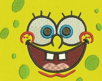 Sponge Bob Face Machine Embroidery Design instant download