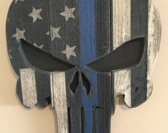 Rustic Wooden Thin Blue Line Punisher Flag Wall Hang