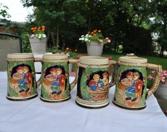 Bavarian Beer Mug - Hand Painted Woodland Landscape Couple Drinking