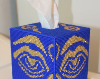 Tapestry Budha's Eye Tissue Box - Unique - Handmade