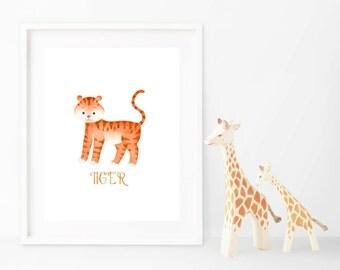 Tiger Wall Art Print, Baby Children Art, Watercolor Tiger 0014
