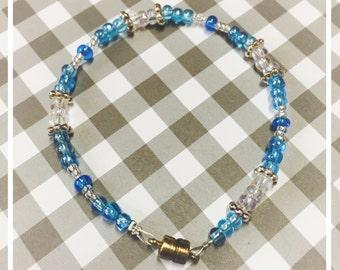 7 inch Petite Beaded Bracelet Pearl and Aqua