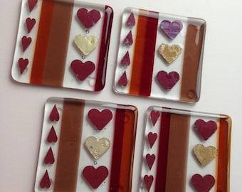 Fused Glass Coasters, Set of 4, Heart Design