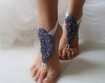 wedding shoes,summer shoes,foot jewelry,bidal shoes,barefoot sandals,rhinestone,blue wedding sandals,something blue, free shipping!