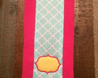 Baby Burp Cloth - Yellow Frame Custom Monogram