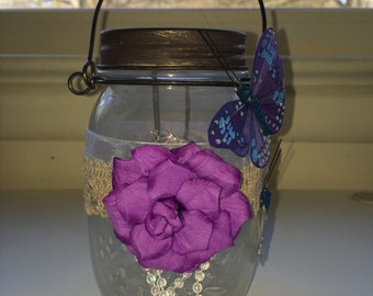 Mason Jar Lantern with Butterflies
