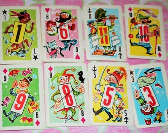 Vintage Playing Cards - Crazy Eights - Walt Whitman - Set of 11 cards