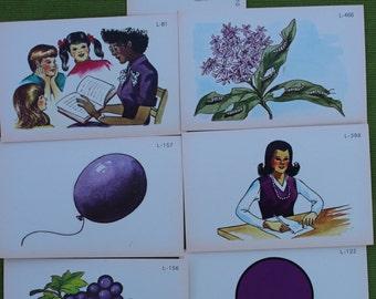 Vintage Purple Ephemera - Vintage picture flash Cards - set of 9