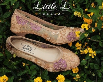 Wedding Shoes - Custom Purple and Cream Flower Lace Heels Pastel Color