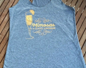 Mimosa - Tank Top - Brunch - Funny - Grey - Champagne - Ladies - Gift