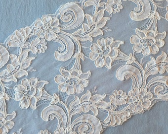 "Vintage White Galloon Bridal Lace Trim Fabric 9"" wide Sold/Priced by the yard"
