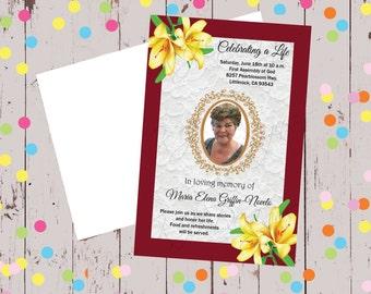 Memorial Invitation, 5x7, religious occasion, religious celebration, church celebration, memorial celebration, celebrating life, funeral